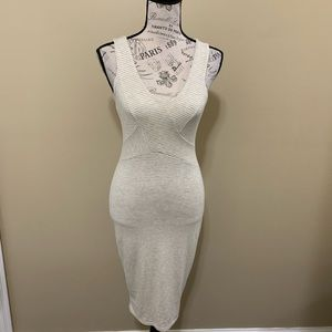 A+ Ellen Cream Stripe Bodycon Dress XS/S